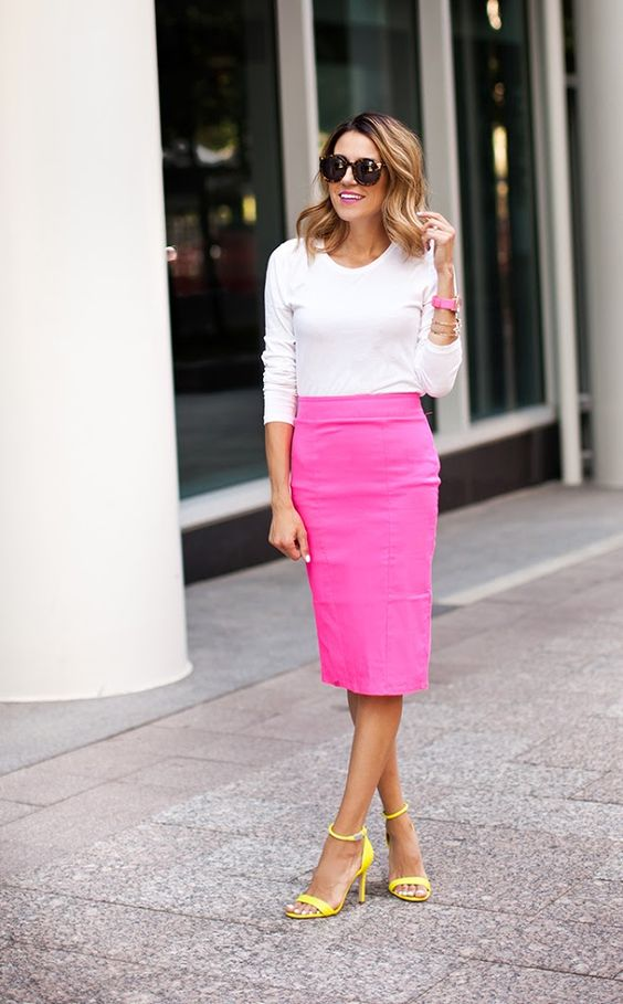 a white long sleeve top, a neon pink pencil skirt, neon yellow ankle strap heels
