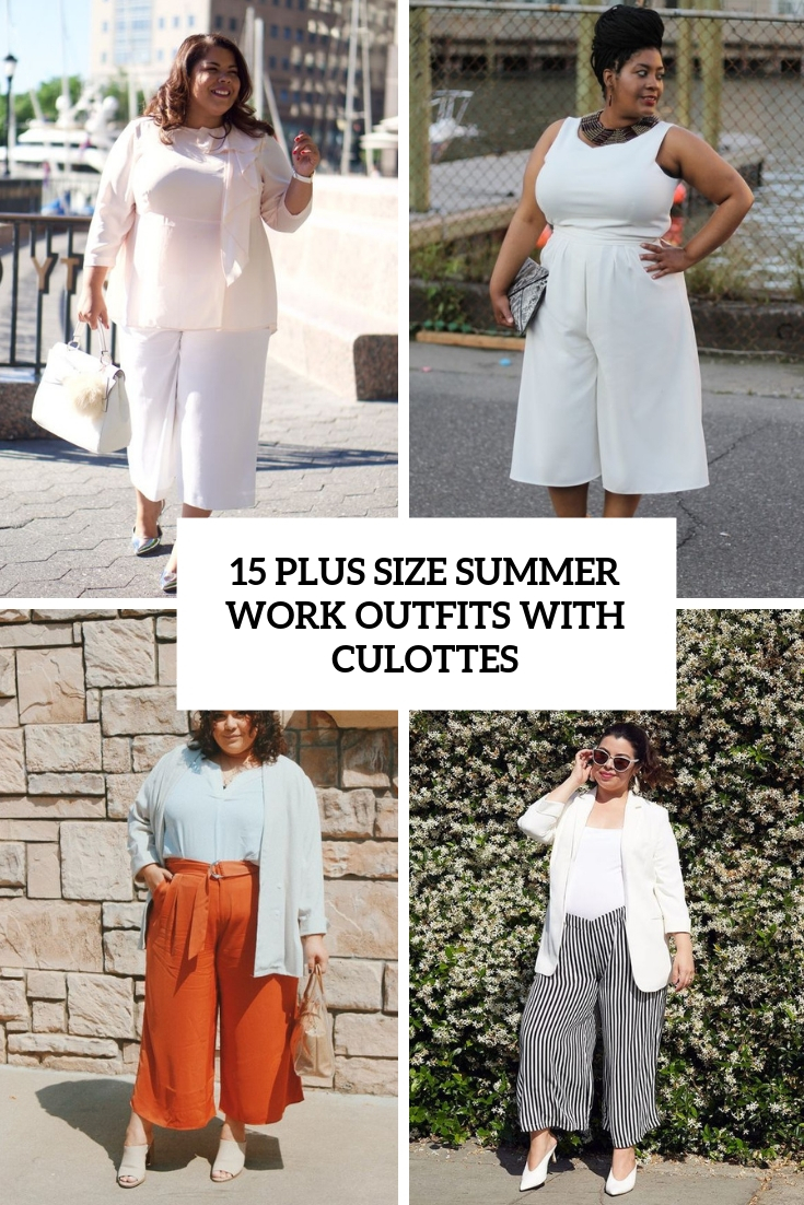 plus size summer work outfits with culottes cover