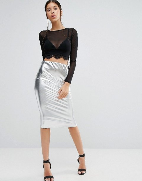 With black crop top and ankle strap shoes