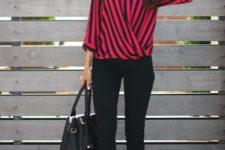 With black pants, black bag adn embellished shoes