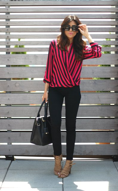 With black pants, black bag adn embellished shoes