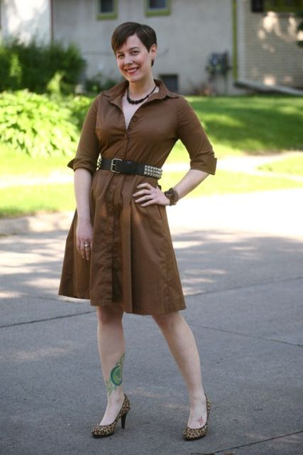 With brown dress and leopard shoes