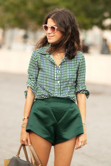 With checked loose shirt and leather bag
