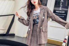 With checked skirt and printed t-shirt