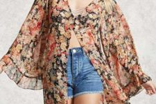 With denim high-waisted shorts and beige top