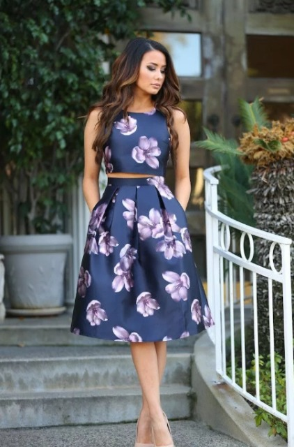 With floral A-line skirt