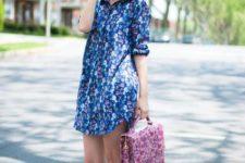 With floral bag and platform sandals