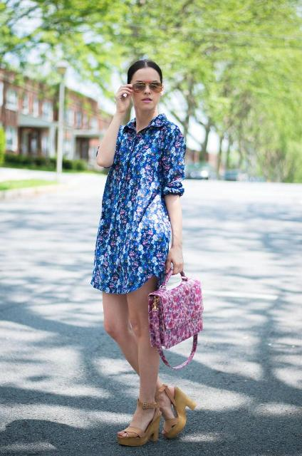 With floral bag and platform sandals