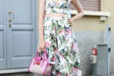 With floral midi skirt, pink bag and blue mules