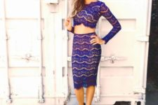 With lace pencil skirt and platform sandals