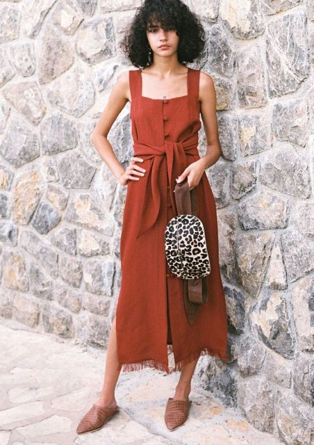 With leopard bag and brown flat mules