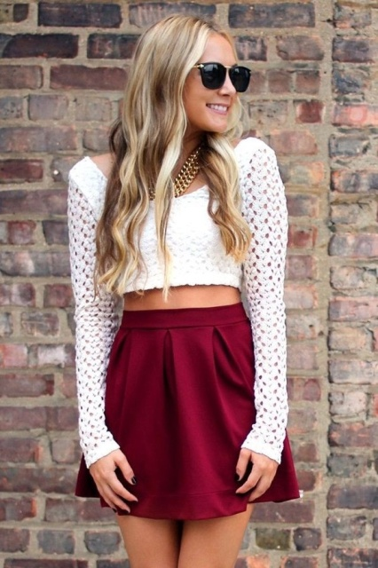 With marsala mini skirt