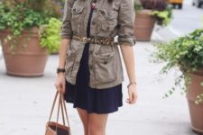With mini dress, gray jacket, brown tote and flat shoes