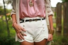 With pink blouse, white shorts, bag and beige shirt