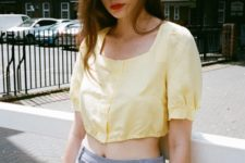 summer look with high waisted pants
