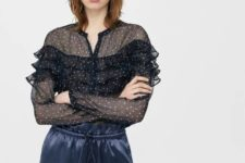 With printed ruffled blouse