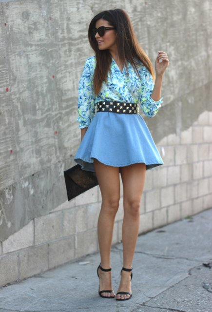 With printed shirt, blue skater skirt, clutch and ankle strap shoes