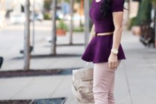 With purple blouse, pale pink pants, high heels and bag