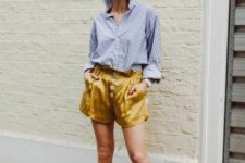 With striped button down shirt and black mules