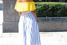 With striped culottes and white high heels