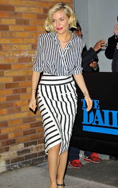 With striped wrapped skirt and heels