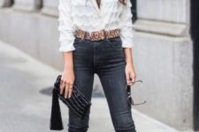 With white blouse, skinny jeans, tassel clutch and red shoes
