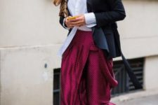 With white button down shirt, navy blue blazer, printed clutch and white and black flat shoes