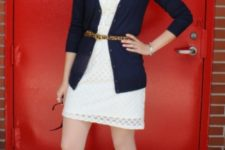 With white dress, cardigan and shoes