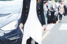 With white dress, crop pants and shoes