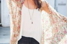 With white loose top and dark colored jeans