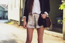 With white shirt, black blazer, bag and white high heels