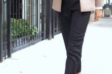 With white shirt, pale pink blazer, black cropped pants and leopard shoes