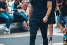 a black tee, black sporty pants, teal loafers and a polka dot button down will make you feel relaxed