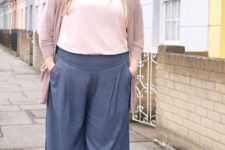 a blush top, navy linen culottes, light blue shoes and a dusty pink cardigan