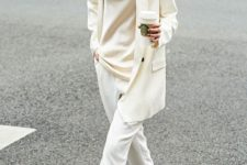 a creamy silk blouse, a creamy oversized blazer, white cropped pants, nude heels for a casual feel