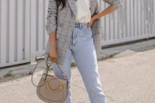 a grey check blazer, a white button down top, light blue mom jeans, nude shoes and a grey bag