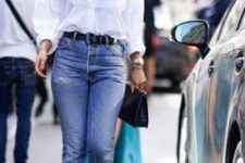 a white shirt, blue straight jeans, leopard print slingbacks and a black bag – two trends incorporated in one outfit