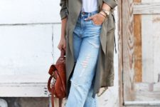 a white tee, decomposed straight leg jeans, burgundy heeled sandals, an olive green trench and a burgundy backpack