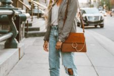 a white top, blue distressed straight leg jeans, a checked blazer, nude and black slingbacks and a camel bag