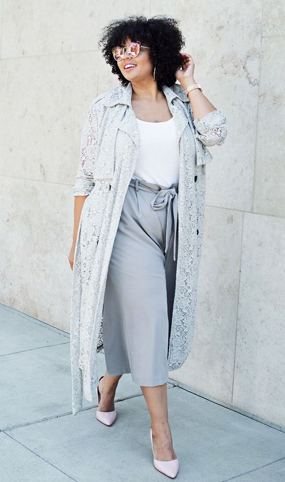 a white top, grey culottes, a grey lace trench and nude shoes for spring or colder summer days