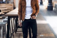 black chinos, a white tee, white sneakers and a brown suede jacket for the transitional time