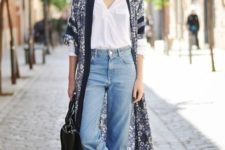 blue mom jeans, a white button down, a moody floral kimono, black Oxford shoes and a black bag