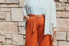 rust culottes, nude mules, an off-white button down, a creamy blazer and a tan bag
