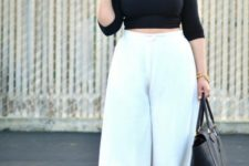 plus size work outfit with culottes