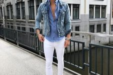 white skinnies, white sneakers, a chambray shirt, a denim jacket for a cool and relaxed look
