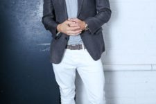 02 a summer work-appropriate look with white pants, a grey tee, a grey blazer and grey loafers with tassels
