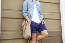 02 a white tee, a chambray shirt, navy shorts, black strappy sandals and a straw hat for a hot day