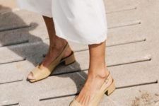 02 tan colored leather slingbacks with square toes feature two trends in one