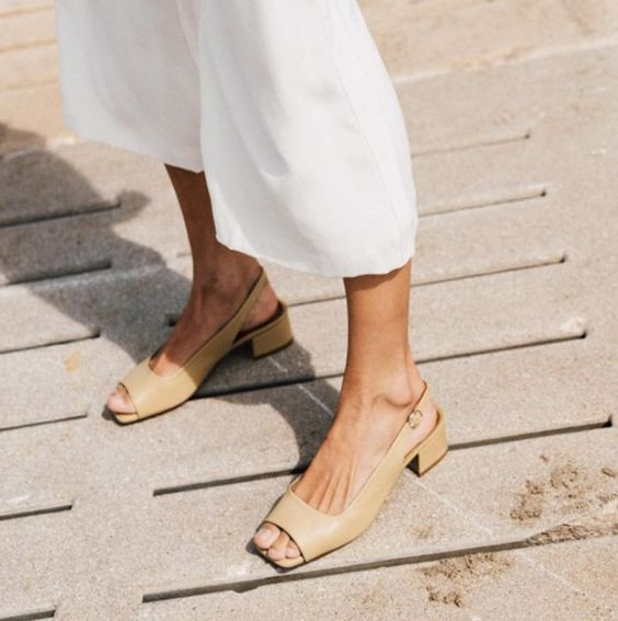 tan colored leather slingbacks with square toes feature two trends in one