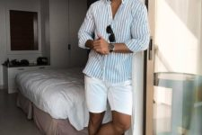 03 a striped button down, white shorts, white sneakers plus sunglasses make up a comfy summer look